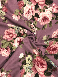 Blush Floral on Mauve Liverpool Knit|By the Half Yard