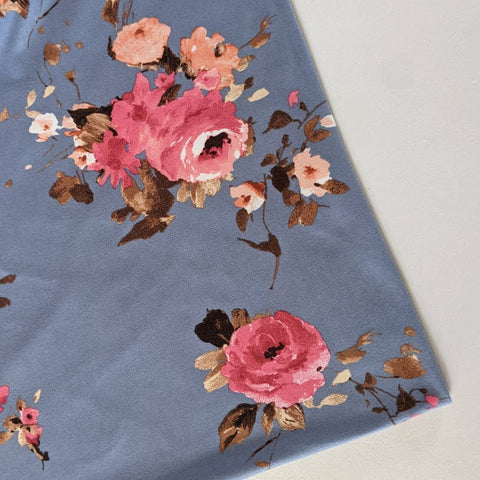 Blue with Pink Floral Double Brushed Poly|By the Half Yard