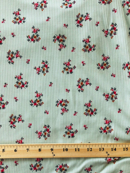 Mint Mini Print Yummy Rib Knit|By the Half Yard