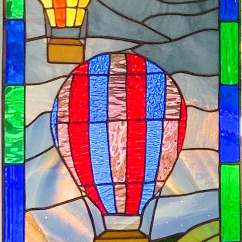 hot air balloon stained glass panel
