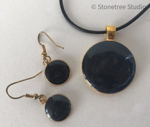 Necklace and earrings midnight blue