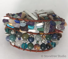 Load image into Gallery viewer, beads and leather bracelet