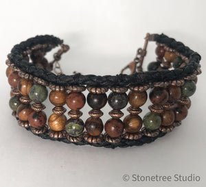 beaded bracelet in greens and browns