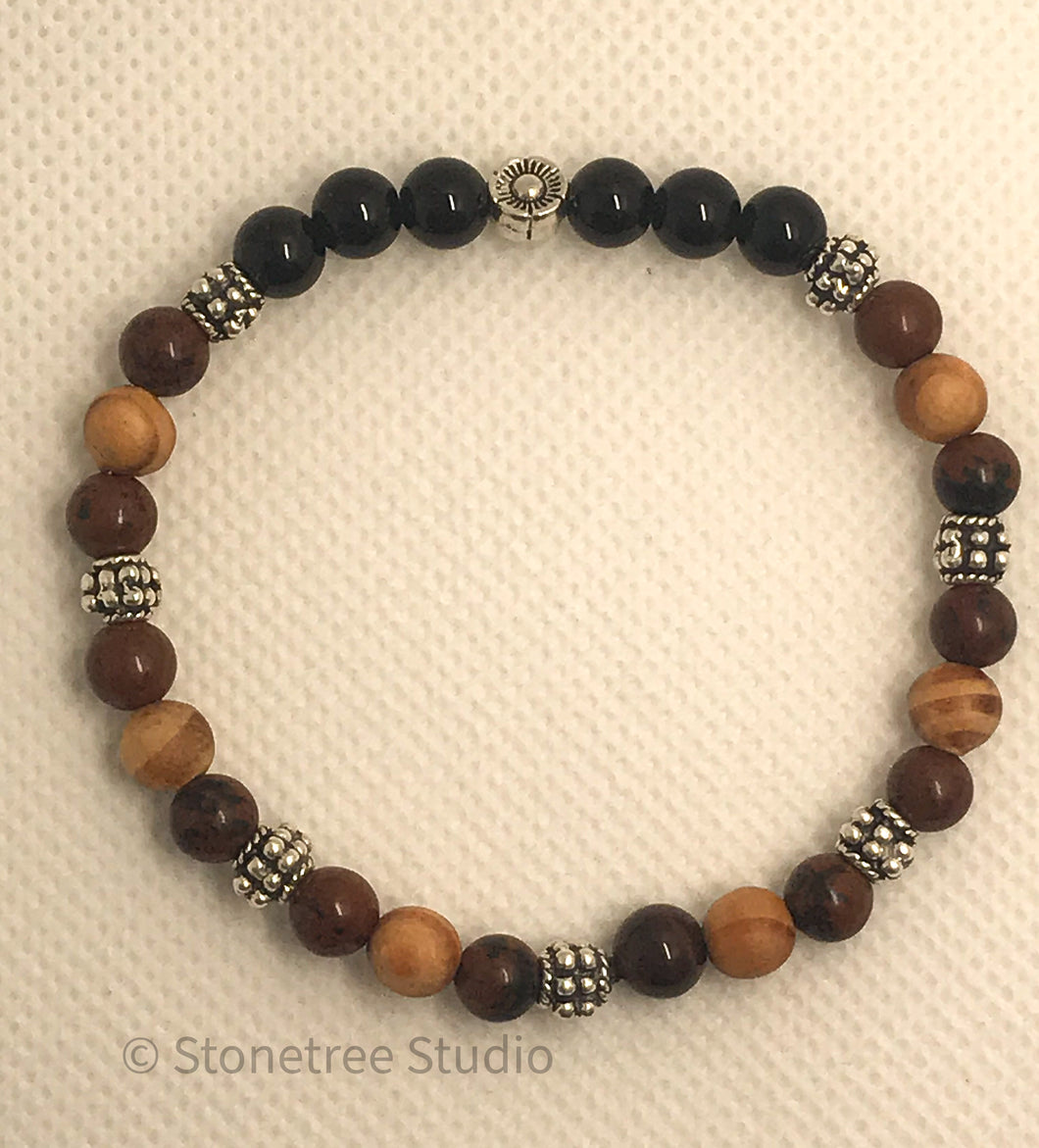 black and mahogany obsidian yoga bracelet