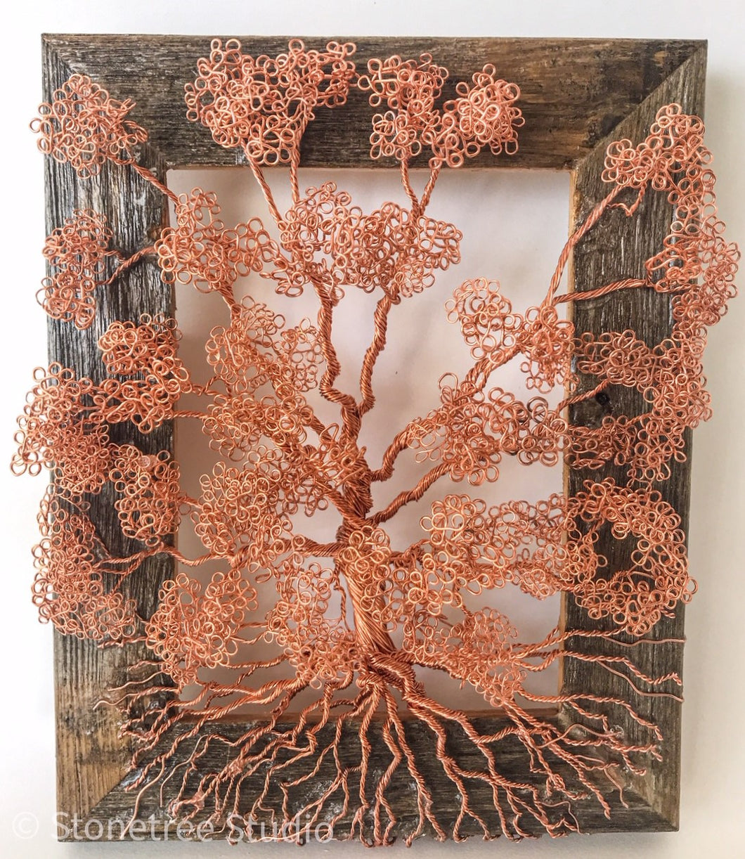copper tree on frame