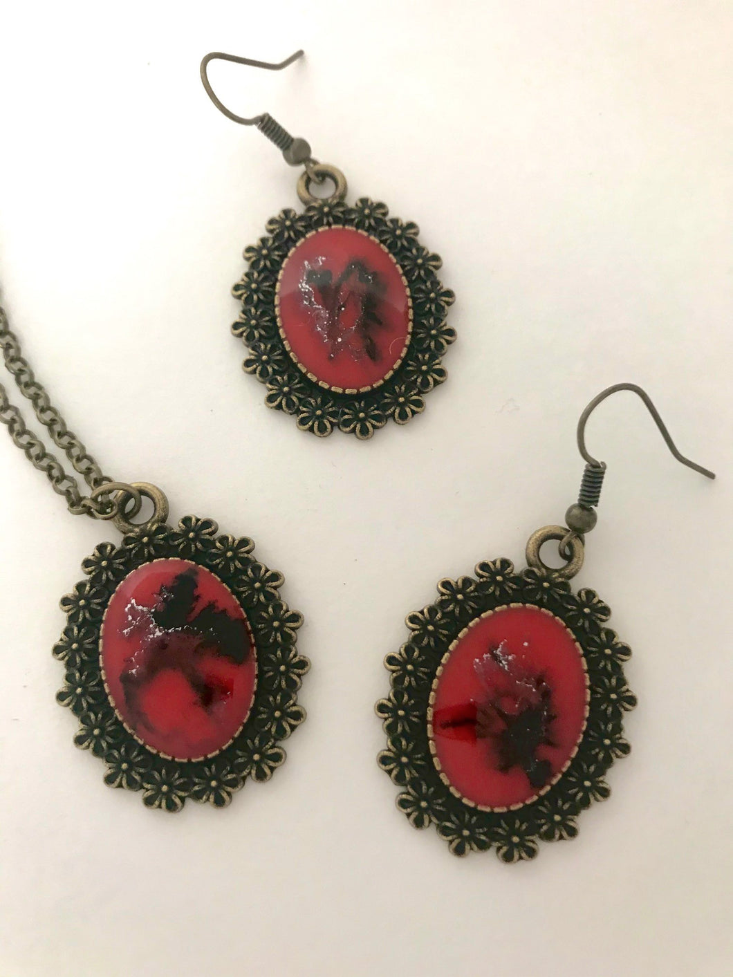 Red Rock Necklace and Earrings Set