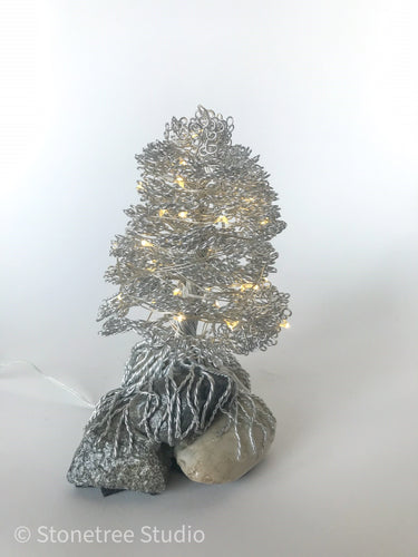 Lighted Christmas tree sculpture