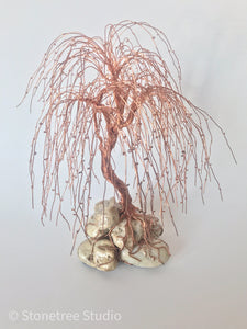 copper willow tree sculpture