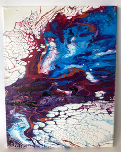 blue purple white abstract painting