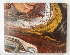 Brown and yellow abstract painting fall colors