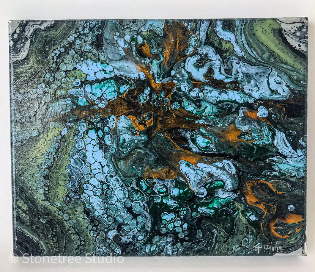 blue green copper black painting
