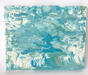 Turquoise blue and green abstract painting