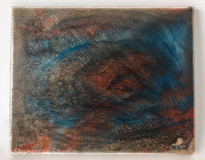 blue copper black abstract painting