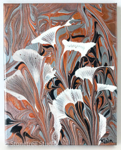 white lilies gray black copper background