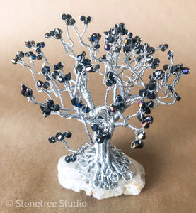 tree sculpture black crystals