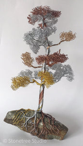 Tree sculpture mixed metal