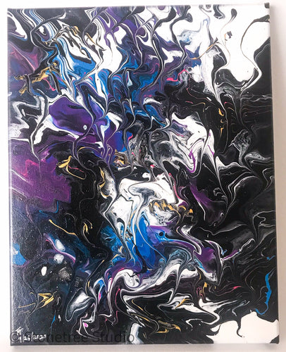 Abstract in black white purple and blue