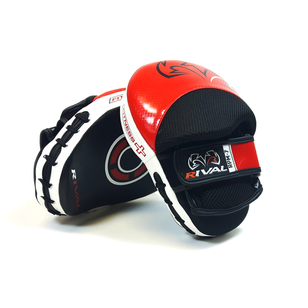 Rival RPM7 Fitness PLUS Punch Mitts Argento Nero Pelle formazione Focus Pads