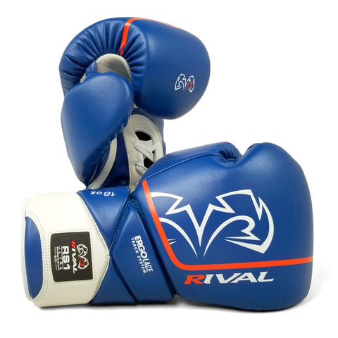 RIVAL RS100 Boxing Gloves Blue Silver Training Sparring