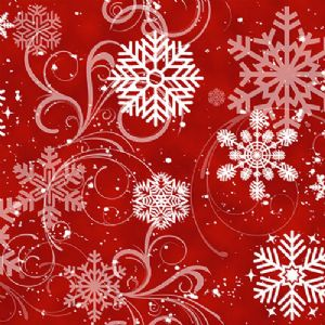 Snow Days Red Swirling Snowflakes