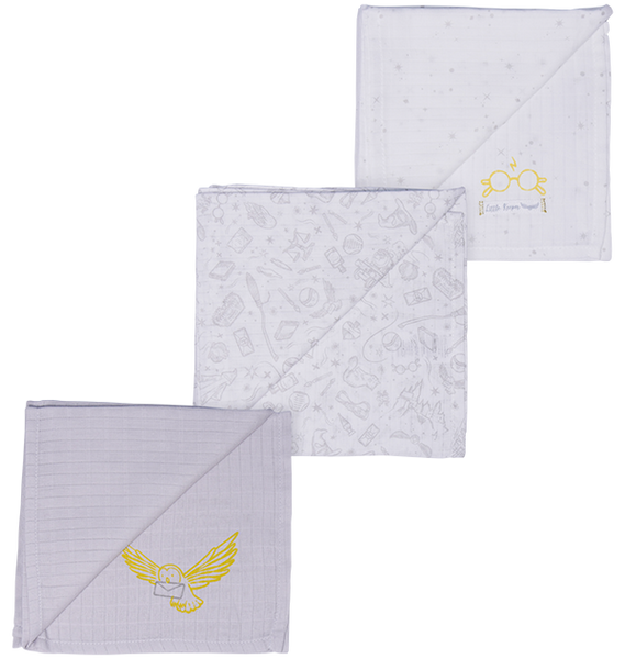 Infant Muslin Squares with Hedwig Design 3-Pack