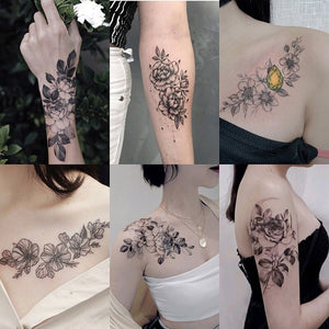 Shoulder & Arm Flower Tattoo Stickers Pack (12 PCs)