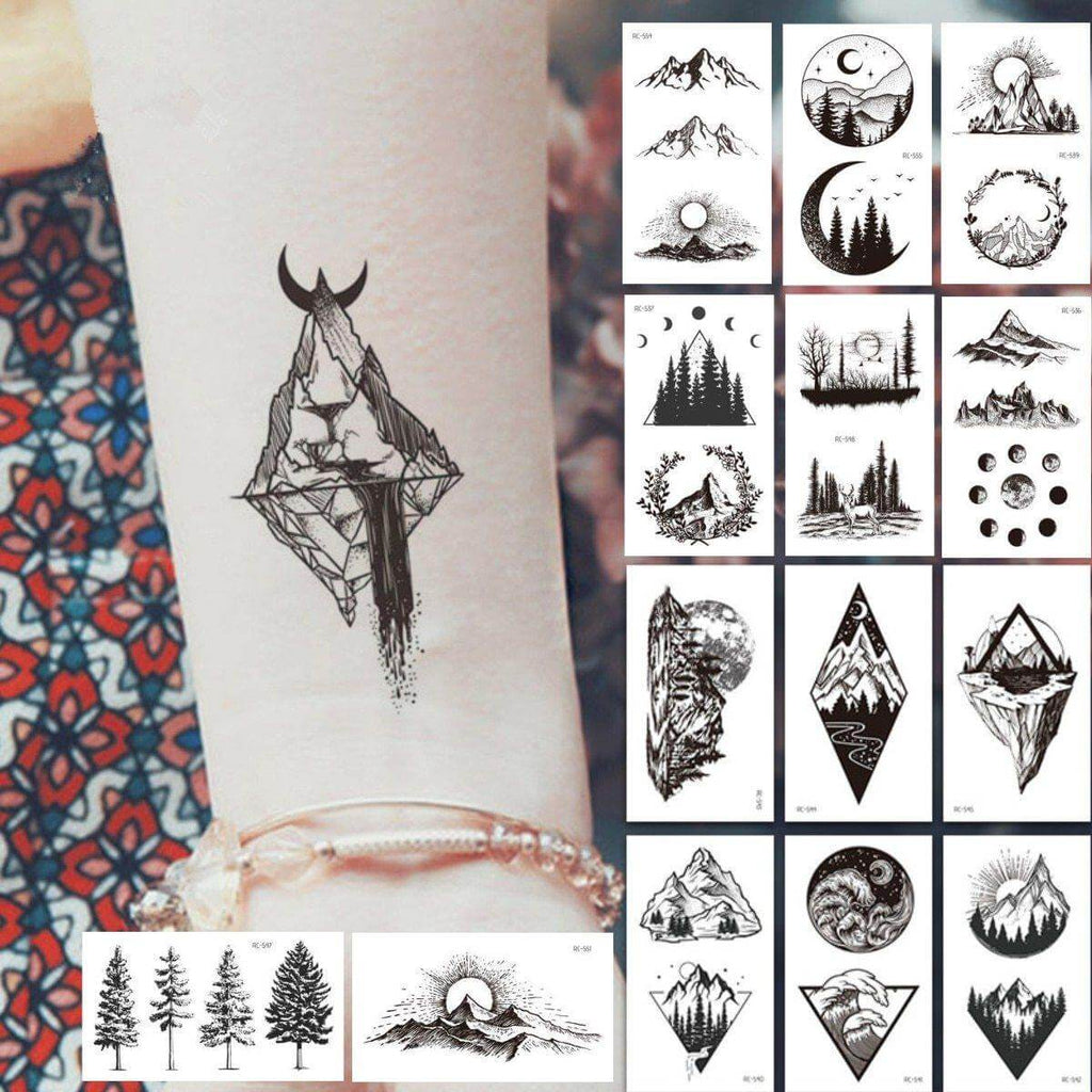 Moon & Hill Forest Star Tattoo Stickers Pack (20PCS) - CoolSticker