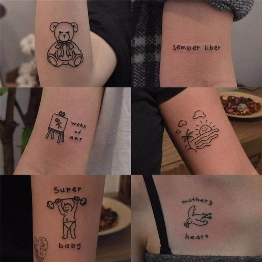 Cute Hand Tattoo Stickers Pack (45 PCs)