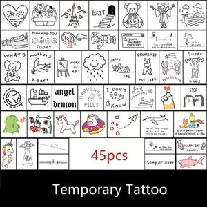 Cute Hand Tattoo Stickers Pack (45 PCs) - CoolSticker