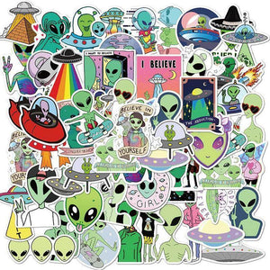 Aliens UFO Cartoon Stickers Pack - CoolSticker