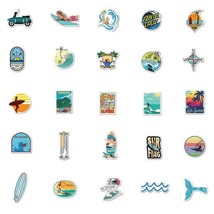 Beach Swimming Surfing Stickers Pack - CoolSticker