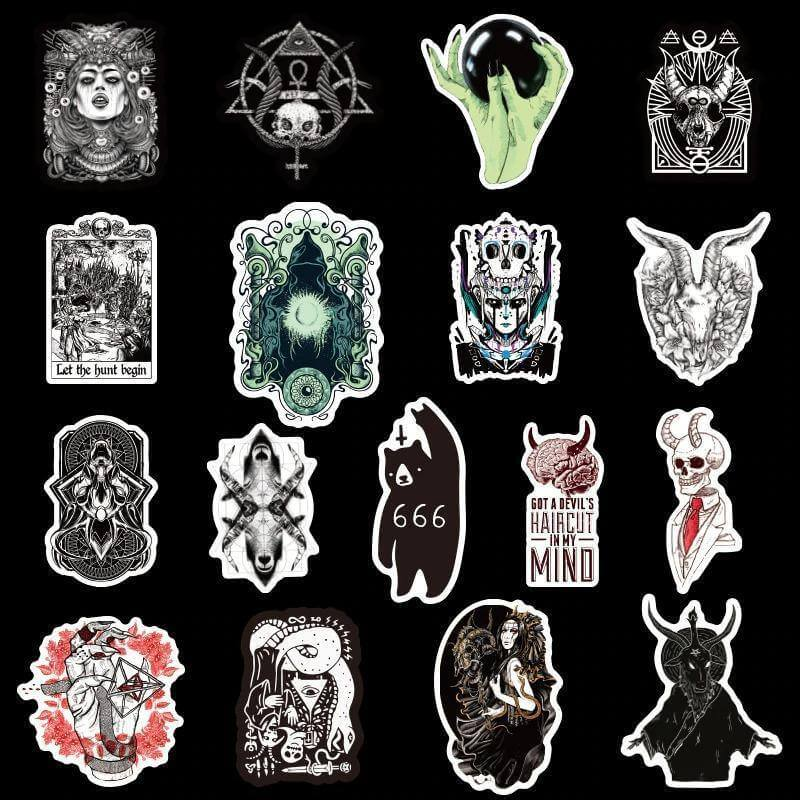 Gothic Demon Black Stickers Pack - CoolSticker