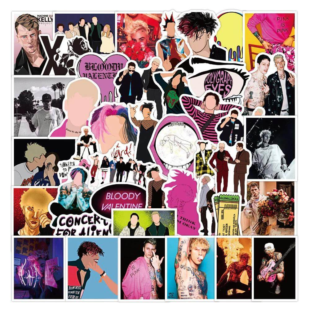 Rapper Machine Gun Kelly Stickers Pack