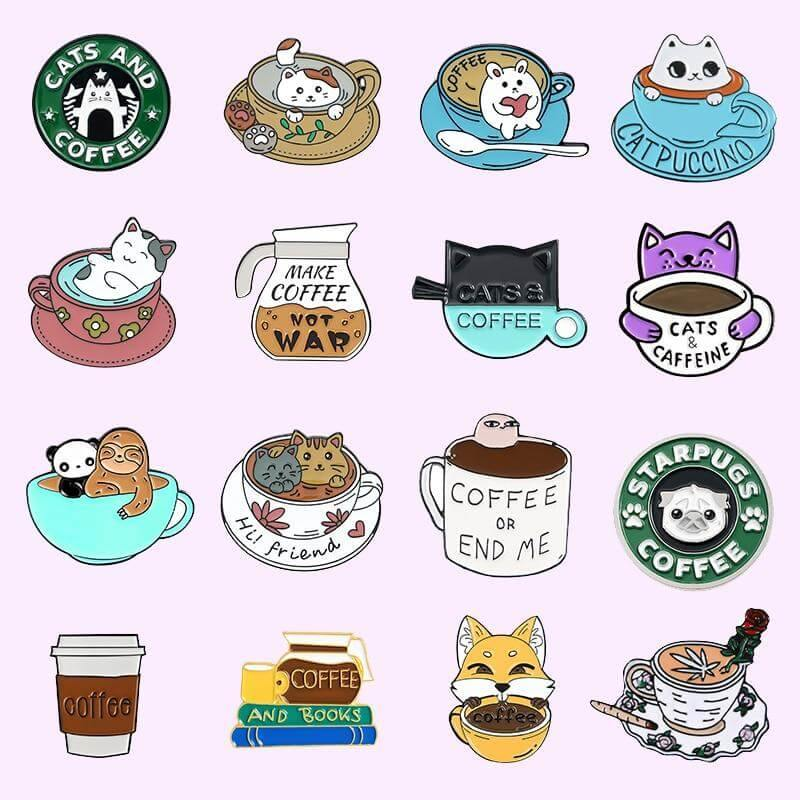 Coffee and Cat Enamel Pins Collection