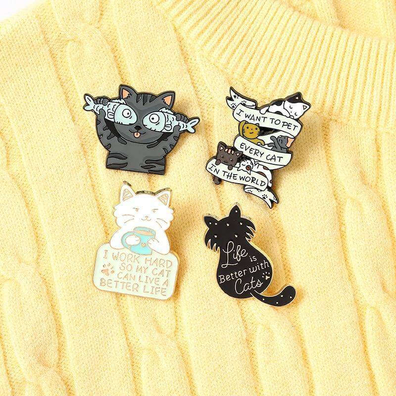 Kitty Cat Enamel Pins Collection - CoolSticker
