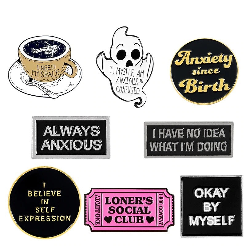 Social Anxiety  Enamel Pin Collection