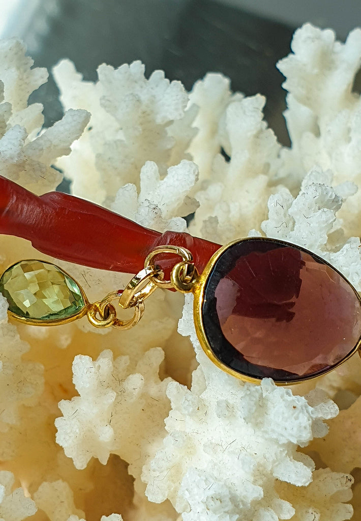 Carnelian, Peridot and Amethyst Pendant Necklace