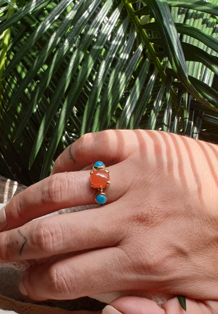 Carnelian and Turquoise Ring