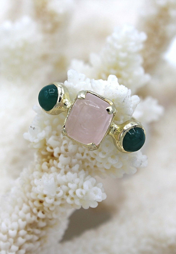 Rose Quartz and Green Agate Ring