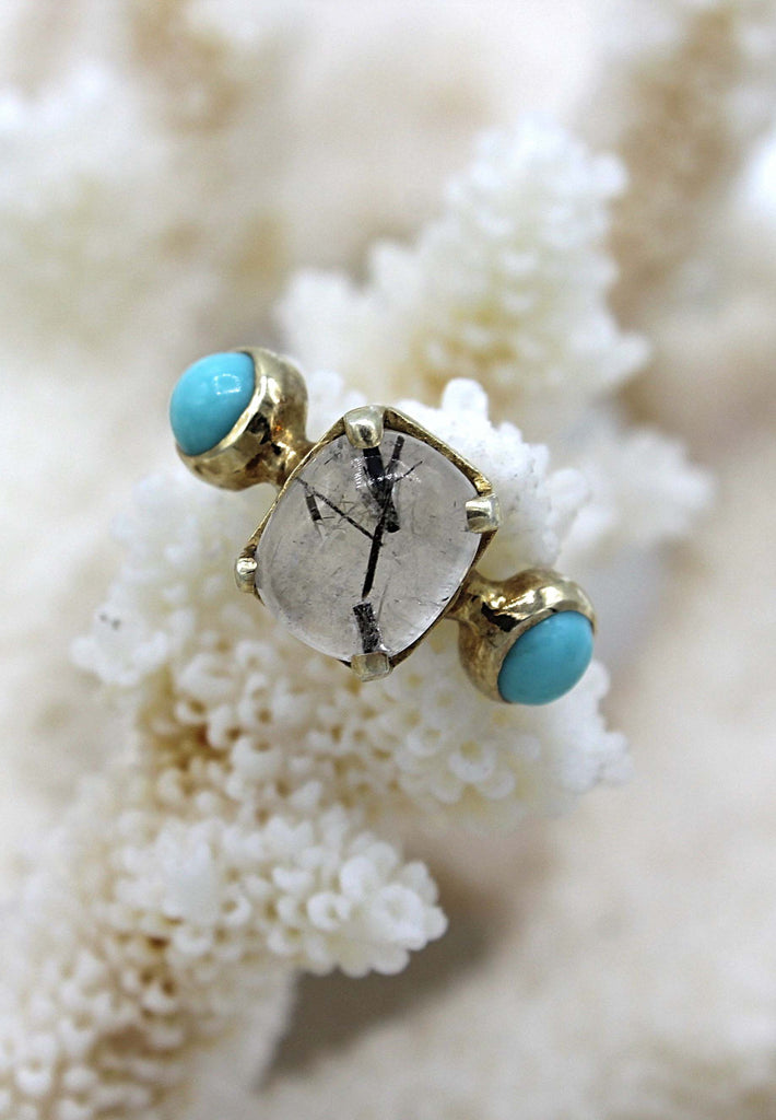 Smoky Quartz and Turquoise Ring