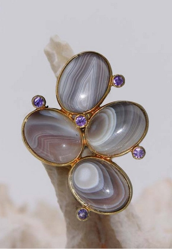 Brown Agate and Amethyst Ring