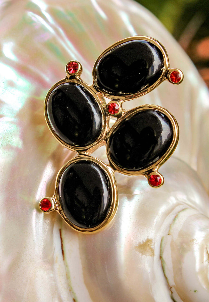 Tourmaline and Red Topaz Ring