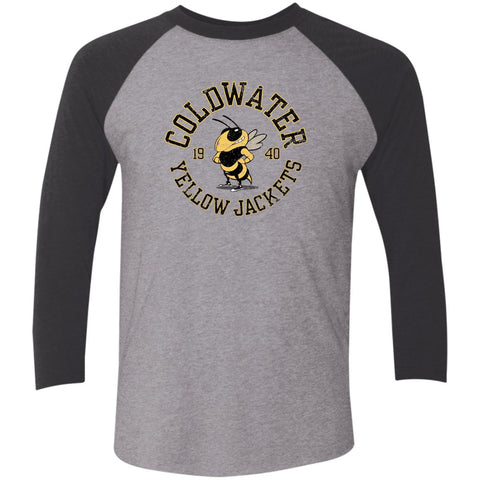 Coldwater Yellow Jackets, Unisex Triblend 3/4 Sleeve T-Shirt