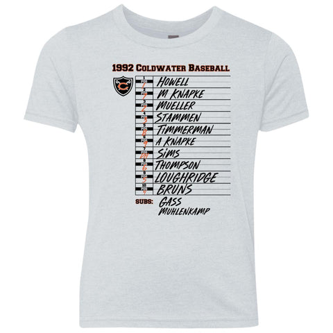 1992 Coldwater Lineup Card, Youth Triblend T-Shirt