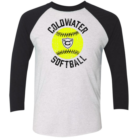 Coldwater Softball, Unisex Triblend 3/4 Sleeve T-Shirt