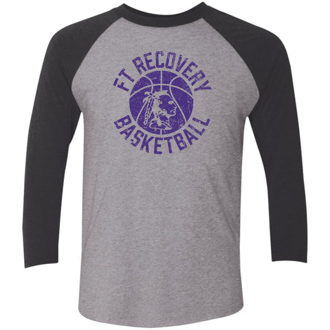 Fort Recovery Basketball, Unisex Triblend 3/4 Sleeve T-Shirt