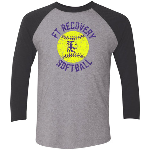 Ft. Recovery Softball, Unisex Triblend 3/4 Sleeve T-Shirt