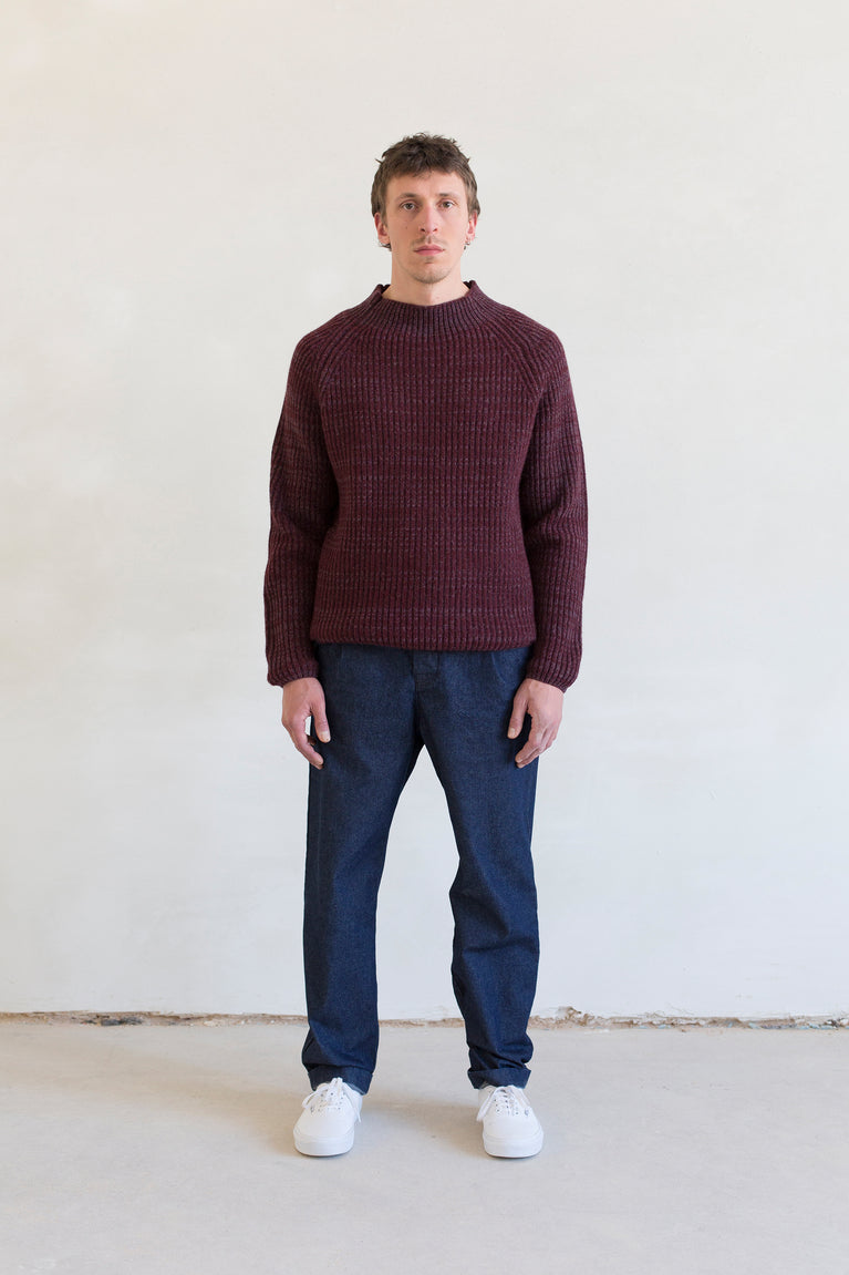 7d collection , 7d , belgian brand , ikkoopbelgisch , luxurious heavy gage knit mockneck sweater in soft merino   comfortable pleated pant in japanese indigo cotton fabric