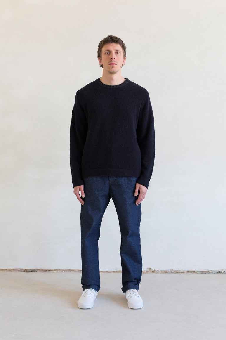 7d collection , 7dcollection , 7d , menswear , men fashion , ikkoopbelgisch , supersoft crewneck sweater in merino nylon bouclette yarn  comfortable pleated pant in japanese indigo cotton fabric