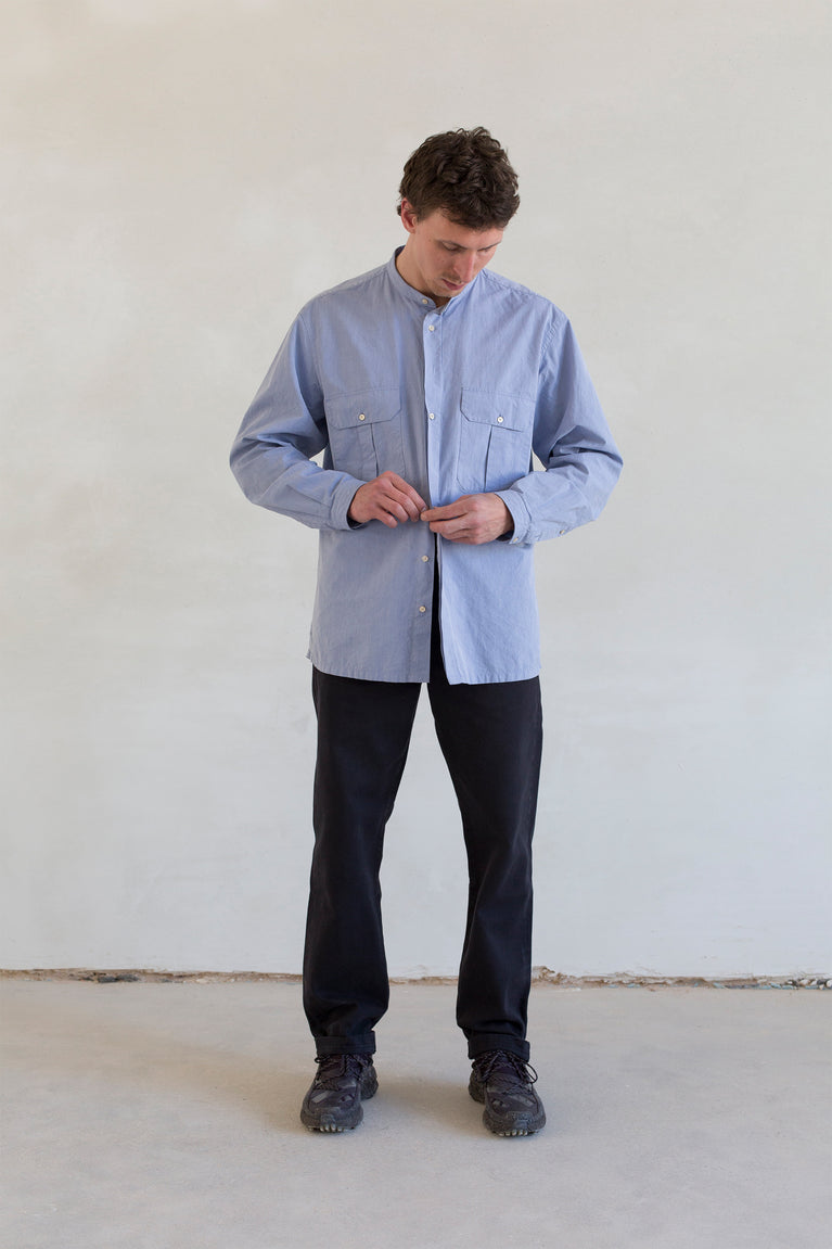 7d collection , 7dcollection , 7d , menswear , men fashion , ikkoopbelgisch , oversized mandarin collar shirt with pleated chest pockets  chino pant in cotton drill